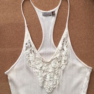Aritzia Wilfred Cream Lace Wifebeater Camisole